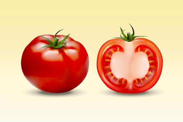 3d에서 노란색에 신선한 토마토