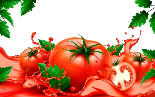 흐르는 주스와 신선한 토마토