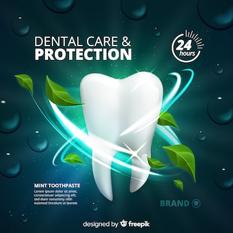 Fresh toothpaste advertisement realistic style