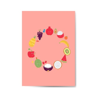 Fresh tropical fruit cartoon character frame vector