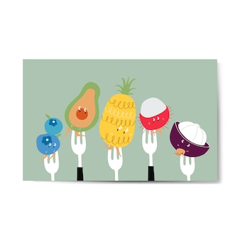 Fresh tropical fruit cartoons on forks vector