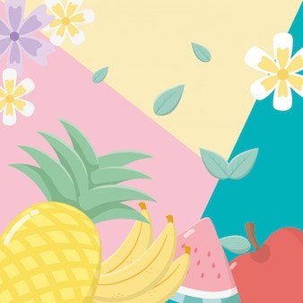 Fresh and tropical fruits background