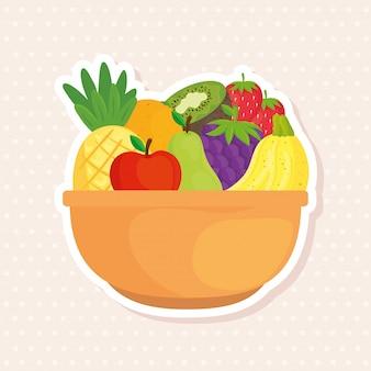 Fresh tropical fruits in bowl