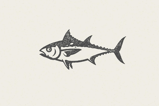 Fresh tuna fish silhouette for food market and seafood restaurant hand drawn stamp effect