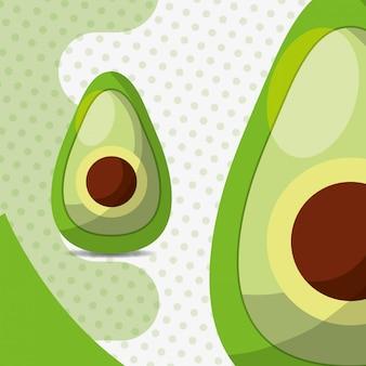 도트 배경에 신선한 야채 아보카도