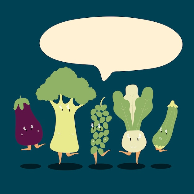 Fresh vegetable cartoon characters set vector