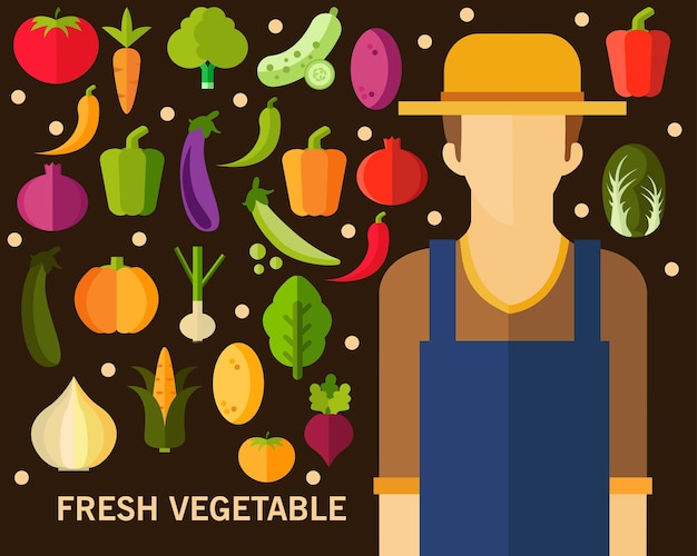 Fresh vegetable concept background. flat icons.