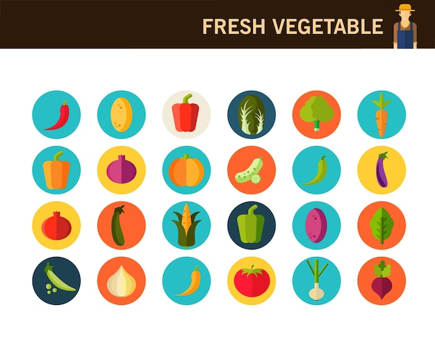 Fresh vegetable concept flat icons.