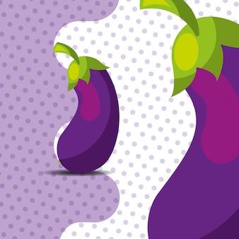 Fresh vegetable eggplant on dots background