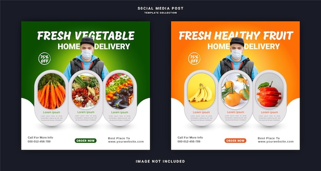 Fresh vegetable and fruits instagram ad social media post template