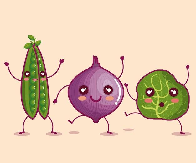 新鮮な野菜面白いキャラクターベクトルイラストデザイン