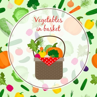 Fresh vegetable organic set in basket