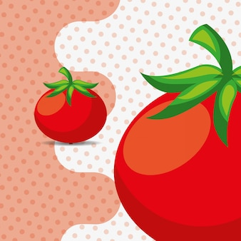 Fresh vegetable tomatoes on dots background