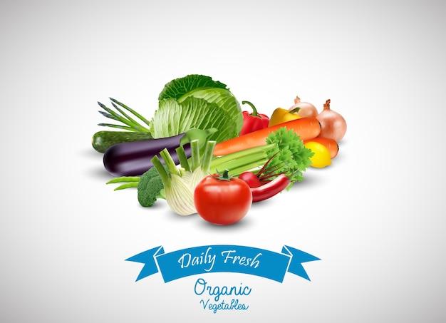 흰색 배경에 파란색 리본으로 신선한 야채
