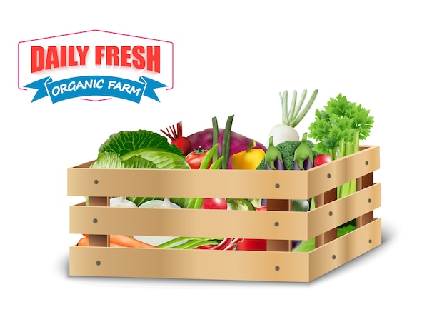Fresh vegetable in wooden crates