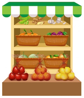 Fresh vegetables and fruits on shelves illustration