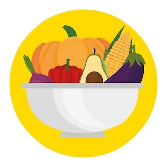 Fresh vegetables in bowl healthy food