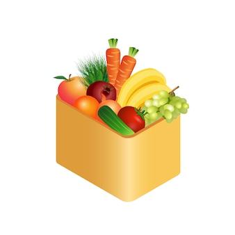Fresh vegetables in box realistic illustration