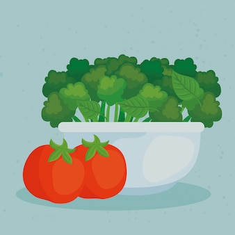 Fresh vegetables, broccoli on bowl with tomatoes