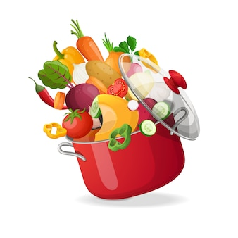 Свежие овощи летая в бак на изолированной белой предпосылке. иллюстрации.