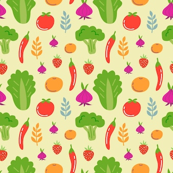 Fresh vegetables and fruits seamless pattern background
