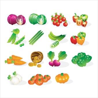 Fresh vegetables icon set cartoon