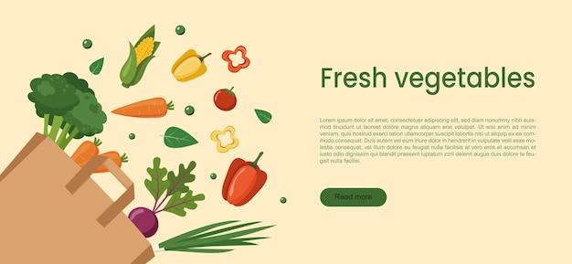 종이 가방에 신선한 야채입니다. 세계 채식주의의 날을 위한 개념 배너입니다. 10월 1일