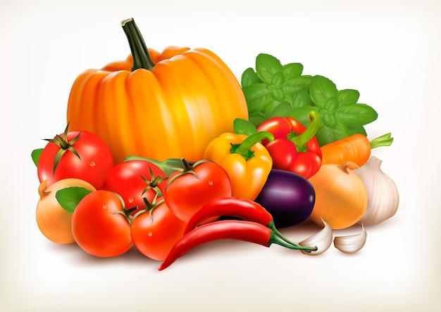 Свежие овощи, изолированные на белом фоне. векторный фон.