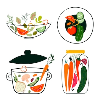 신선한 야채 샐러드 벡터 세트 그릇 접시 냄비와 항아리 요소 절연