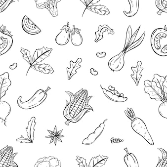 Fresh vegetables seamless pattern with sketch or hand drawn style