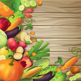 Fresh vegetables on wood conceptual composition with cartoon symbols of ripe organic food on brown wooden background