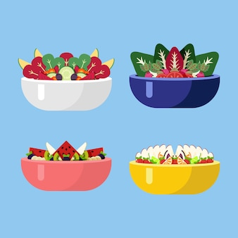 Fresh veggie salads in different coloured bowls