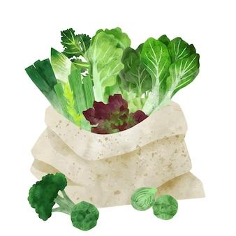 Свежие овощи в большой текстильной сумке рисованной