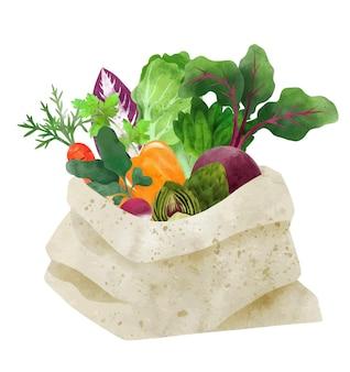 손으로 그린 토트 섬유 가방에 신선한 야채