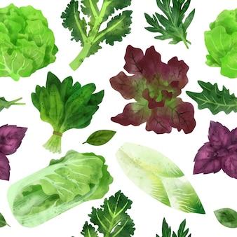 Свежие овощи бесшовные рисованной вектор