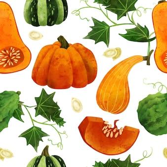 新鮮な野菜のシームレスなパターン手描きベクトル