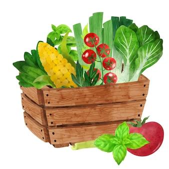 Fresh veggies in wooden box hand drawn vector