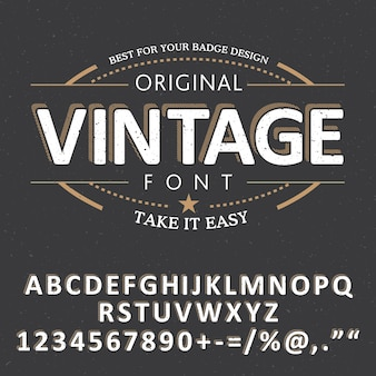 Fresh vintage font poster with alphabet and words take it easy illustration