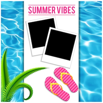 Fresh water background summer vibes with polaroid and flip flops