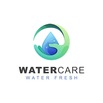 Fresh water care logo. hand water drop logo design   template