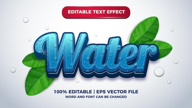 Редактируемый текстовый эффект пресной воды