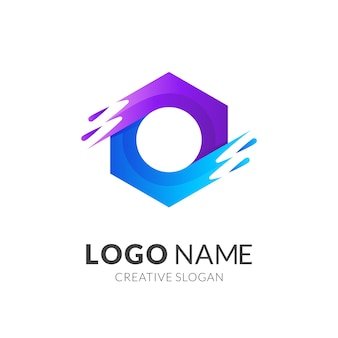 Fresh water logo, hexagon and water, combination logo with 3d purple and blue style