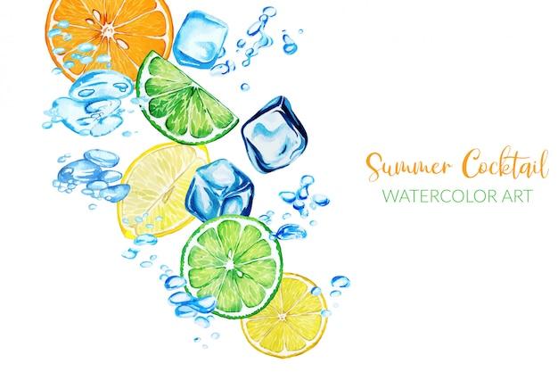 Fresh watercolor citrus slices among water bubbles