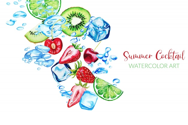 Fresh watercolor strawberries, qiwi slices and cherries