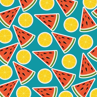 Fresh watermelon portions and oranges summer pattern