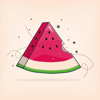 Fresh watermelon in summer time with bit vector illustration