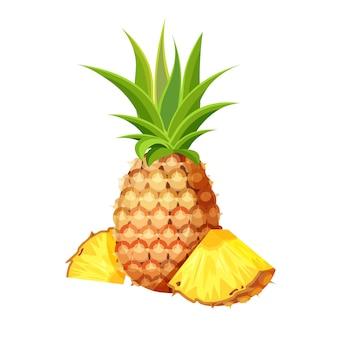 新鮮な全体、カットスライス、白い背景で隔離のパイナップルの作品。トレンディな漫画のスタイルのビーガンフードアイコン。健康食品のコンセプトです。