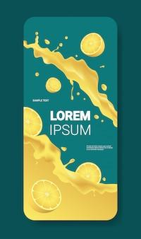 新鮮な黄色のレモンジュース液体スプラッシュ現実的な水しぶき健康的な果物水しぶきスマートフォン画面モバイルアプリ垂直コピースペース