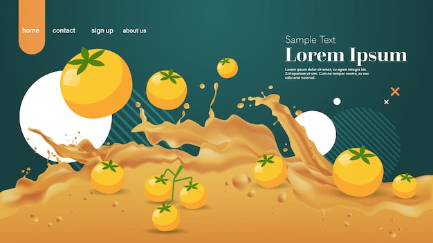 Fresh yellow tomato juice liquid splash realistic splashes healthy fruits splashing waves horizontal copy space