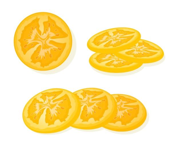 新鮮な黄色のトマトは、白い背景で隔離のスライスをスライスしました。ジューシーな完熟トマト。図。